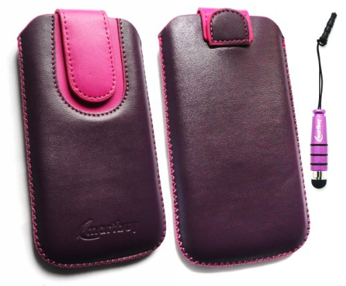 Emartbuy ® Pack Stylet Pour L'Iphone 4S 4G 4Gs Hd Violet / Rose Chaud Premium En Cuir Pu Faites Glisser Pouch / Case / Sleeve / Holder (Taille Large) Avec Un Mécanisme De Tirette + Mini Pourpre Métall