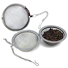 Extra Large Stainless Steel Tea Ball Strainers for Kombucha & Loose Leaf Tea (2 pack); Fine Mesh, Reusable Tea Infuser for Steeping and Brewing