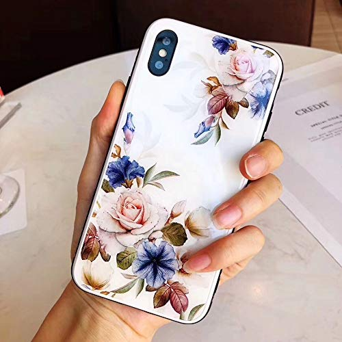 Maxlight Luxury Flower Glass Hard Back Cover Case for iPhone Xs Max XR Floral Phone Case for iPhone X 7 8 Plus Cases Coque (White, for iPhone 7 8)