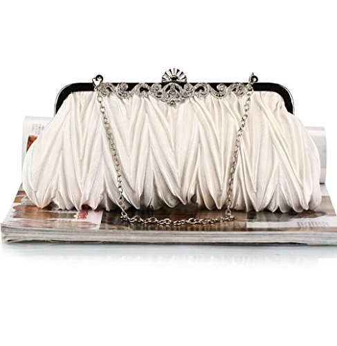 Vintage Satin Pleated Evening Cocktail Party Wedding Handbag Clutches ()
