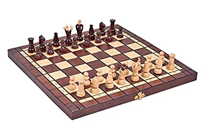 "Chess and Checkers (Draughts) Set - Hand Crafted Wooden Pieces, Board with Storage 13,7"" x 13,7"" Travel Size"
