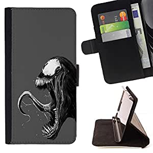 DEVIL CASE - FOR Sony Xperia M2 - Evil Superhero Villain - Style PU Leather Case Wallet Flip Stand Flap Closure Cover