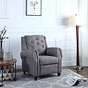 Casa Andrea Milano Classic Accent Chair Living Room Armchair Tufted In Linen Upholstery Grey