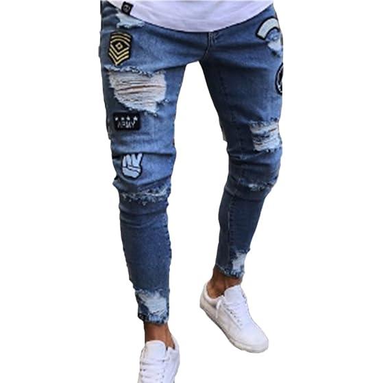 Huateng Pantalones de mezclilla vaqueros rasgados ...