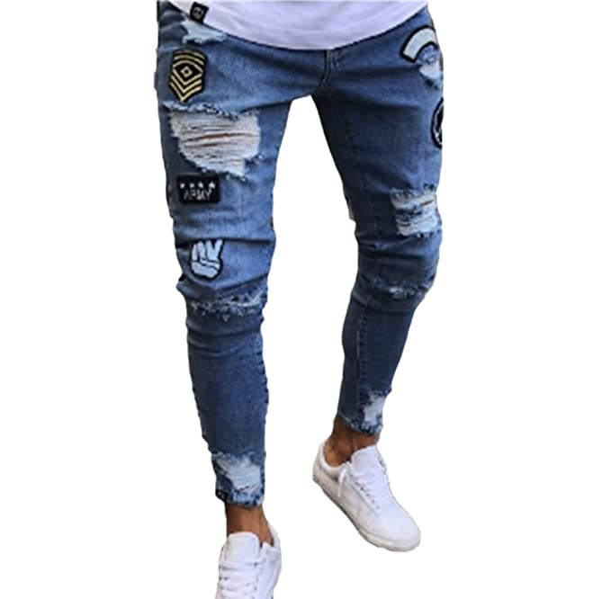 99407226438 Keephen Pantalones de Mezclilla para Hombres, Jeans elásticos Pitillo  Desgastados elásticos destruidos Pantalones de Mezclilla Slim fit con  Tachuelas ...