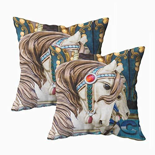 - Capsceoll Soft Pillow Covers, Horse Closeup Carousel Ride 18x18 Pillow Covers,Home Decoration Pillow Cases Zippered Covers Cushion for Sofa Couch