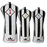 Craftsman Golf Black with White Stripes Series Golf Club Driver Wood UT Hybrid Head Cover Headcover (3pcs (#1,#3,#5 Cover)