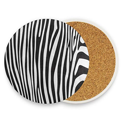 (LoveBea Animal Zebra Print Stripe Coasters, Protection for Granite, Glass, Soapstone, Sandstone, Marble, Stone Table - Perfect Drink Coasters,Round Cup Mat Pad for Home, Kitchen Or Bar Set of 4)