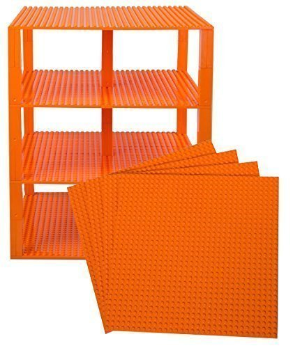 Strictly Briks Classic Baseplates 10 x 10 Brik Tower 100% Compatible with All Major Brands   Building Bricks for Towers and More   4 Orange Stackable Base Plates & 30 Stackers