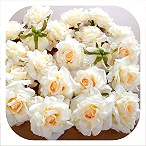 Memoirs- 10Pcs Artificial Flowers Head 10Cm Rose Head Silk Flower for Wedding Party Decoration DIY Scrapbook Craft Flower Wall 22