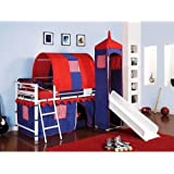 Amazon Com Laugh Girl Twin Over Twin Slat Slide Tent Bunk Bed