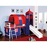 Castle Tent Twin Loft Bed Slide Playhouse w/ Under Bed Storage Red White & Blue. Top of the Slide Is Tented with a Tower with Peek Through, Fold Down Window Covers. Fun Bunk Bed w/ Slide & Covered Hiding Place Below. The Covered Hiding Place Below Can Also Be Used As Under Bed Storage. The Kids Will Have a Blast All Day Long Playing in the Bedroom.