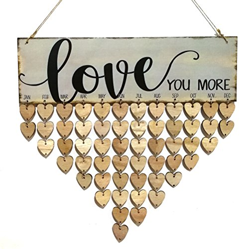 ROSENICE Love You More Family Birthday Reminder Hanging DIY Heart Shape Wooden Calendar Plaque Home Wall Decoration]()