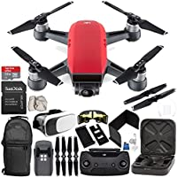 DJI Spark Portable Mini Drone Quadcopter (Lava Red) + DJI Spark Remote Controller EVERYTHING YOU NEED Starter Bundle