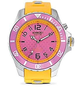 Kyboe Stainless Steel Silver Series Women's Purple Dial Silicon Rubber Watch- KY.024, Yellow
