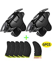 Mobile Game PUBG Controller Set for PUBG Trigger Aim Button L1R1 Fast Shooter Joystick for iPhone Android and 6pcs Silver Fiber Gaming Finger Sleeve (Black)