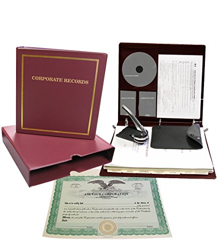 Corpkit Customized Thriftkit Corporate Kit with Printed Minutes & Bylaws/Operating agreement, Burgundy Binder, Slipcase, Corporate Seal, Certificates with Stubs-(Corporation) -
