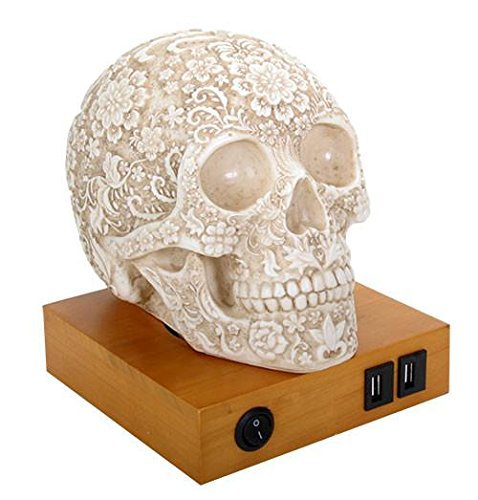 Summit Collection Floral Skull Home Decor LED Lamp with Two USB Charging Ports, White, YTC Summit International Inc.