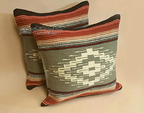 (Mission Del Rey Southwestern Throw Pillow Covers 18x18 - (Pair) 2 Hand Woven Southwestern Pattern for Native American Style and Rustic Cabin Decor (Saltillo-4))