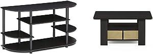 Furinno Jaya Simple Design Corner TV Stand, Espresso/Black & Coffee Table with Bins, Espresso/Brown