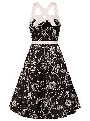 Motiven Mistral 50's Dress mit Schwarz Kleid Hell nautischen 4781 Bunny RwqfPAz