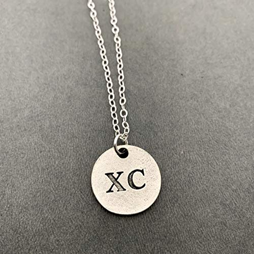 XC Round Pewter Pendant Necklace on Sterling Silver Flat Cable Chain - Round Pewter XC Pendant on 18 inch Sterling Silver Flat Cable Chain