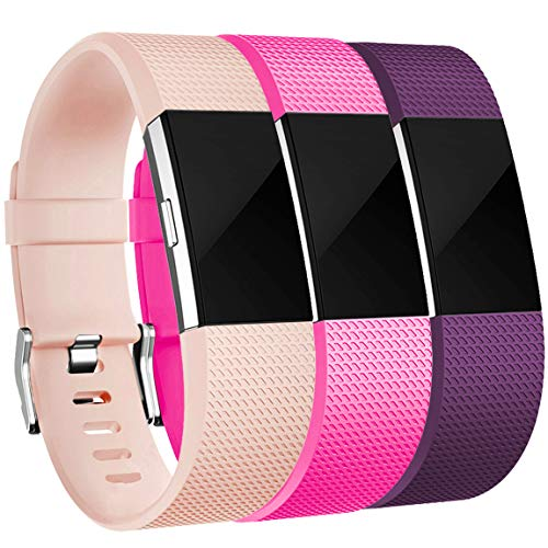 Maledan Bands Replacement Compatible with Fitbit Charge 2, 3-Pack, Blush Pink/Rose Pink/Plum, Large