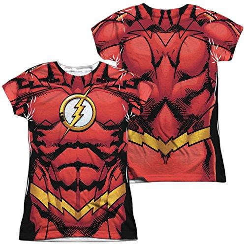 Martian Manhunter New 52 Costume (Juniors: The Flash- New 52 Costume Tee (Front/Back) Juniors (Slim) T-Shirt Size L)