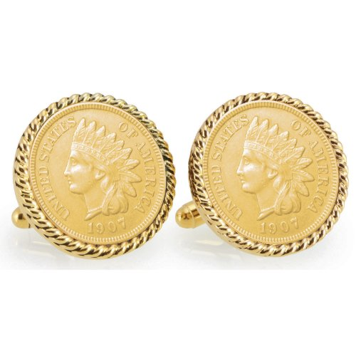 Gold-Layered Indian Head Penny Goldtone Rope Bezel Coin Cuff Links | United States Coins | Men's Cufflinks | Over 100 Years Old