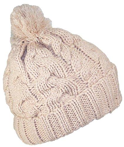 Best Winter Hats Thick Cuffed Cable & Rib Knit Beanie W/Pom Pom (One Size) - Khaki