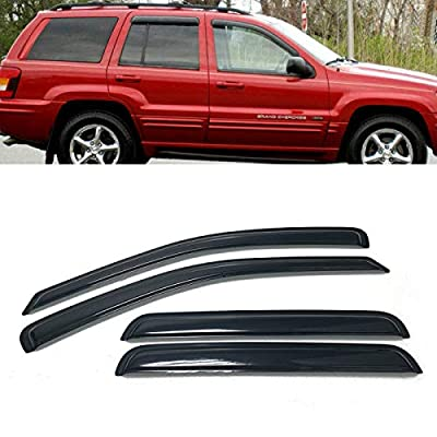 Set of 4Pcs Smoke Window Sun Rain Visor Vent Guard Deflector Shade Fit for 1999-2004 Jeep Grand Cherokee: Automotive
