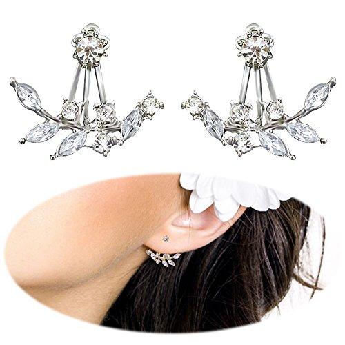 Leaf Studs Leaves Ear Crawler Earrings Cuff Climber Ear Wrap Pin Vine Pierced Geometric Charms Jewelry Silver Plated Silver Vine Pattern Earrings