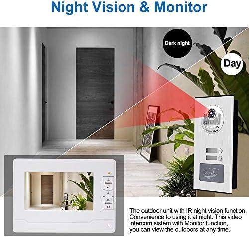 KDL Video Intercom 7 pulgadas Intercomunicador de timbre de video RFID Sistema de videoportero 2 monitores con 1 c/ámara IR con visi/ón nocturna dos botones de llamada para Multi Apartamentos//Familias