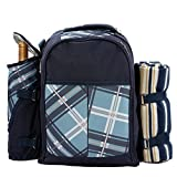 Honeystore Blue Picnic Backpack Travel Otdoor for 4 Persons with Cooler Compartment Wine Holder Picnic Mat and Tableware sets
