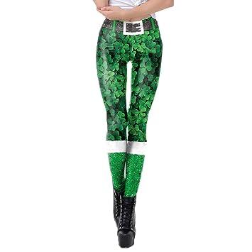 c0424898bb Artistic9 Saint Patrick Femme Collant Vert Irlandais Leggings Imprimé 3D  Pantalon Rayures Serrer Taille Haute Crayon