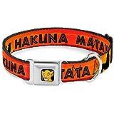 Buckle Down Seatbelt Buckle Dog Collar - Lion King HAKUNA MATATA Sunset Oranges/Black - 1'' Wide - Fits 9-15'' Neck - Small