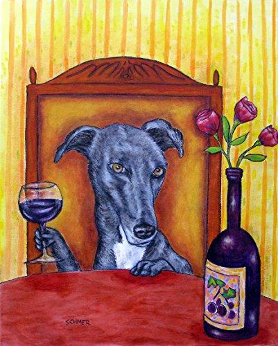 Greyhound at the Wine Bar signed dog art (Greyhound Dog Print)