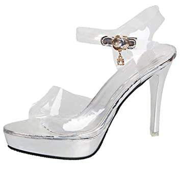 15e21ea965 Women Clear Stiletto Sandal - Ladies Peep Toe Ankle Strap Buckle ...