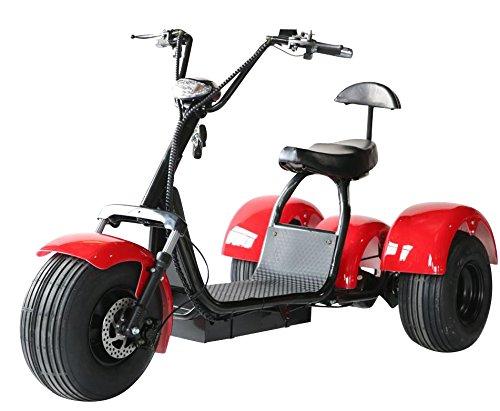 eDrift UH-ES395 Fat Tires 3-wheel Electric Chopper Trike Scooter Moped with Shocks Harley E-Bike (Red, 20AH) -