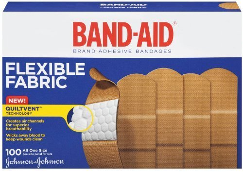 Band-Aid Adhesive Bandages, Flexible Fabric, All One Size 1'' X 3'' , 100 Count (Pack of 3) by Band-Aid