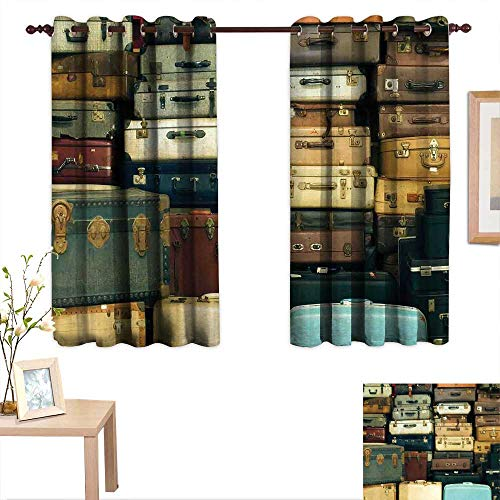 (Vintage Thermal Insulating Blackout Curtain Colorful Vintage Suitcase Antique Leather Decorative Travel Gift Map Nostalgia 63