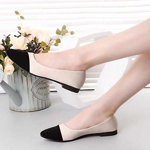 Oficina Estilo Zapatos de Bailarinas Planos de Piel Mujer Sintética Moda Elegancia Zapatos Negro y 4wUqEYg