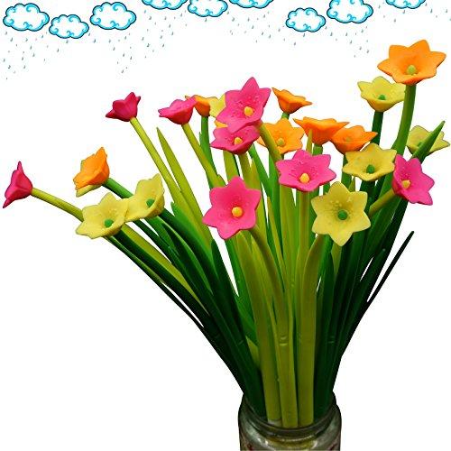 BUOP Novelty Design Narcissus Flower Style Ball Point Pen, Cute Cartoon Silicone Flower Fine Point Black Rollerball Gel Ink Pen, Two Dozen (24pcs) Box