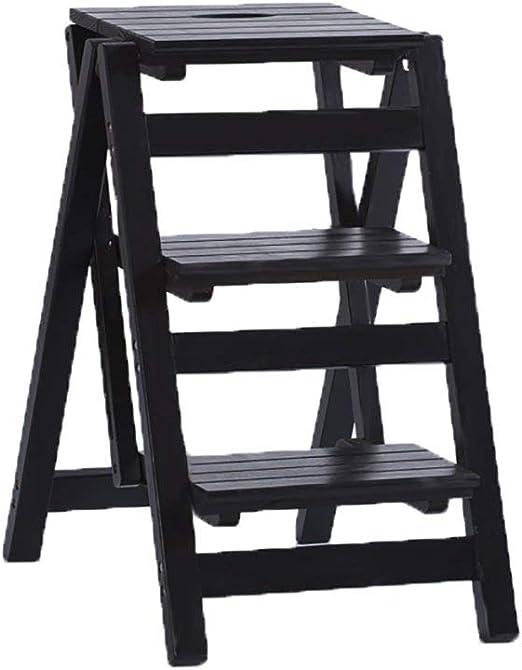 AA-SS-Step stool 3 Pasos Escalera Plegable Escalera Escalonada Estante De Flor De Madera Maciza Soporte Escalera DoméStica MultifuncióN Interior Ascend Escalera Taburete PequeñO (Color: A): Amazon.es: Hogar