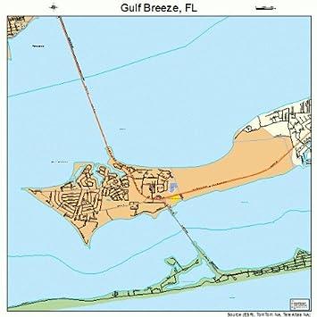Map Gulf Breeze Florida.18 Street Road Map Of Gulf Breeze Florida Fl Printed Small