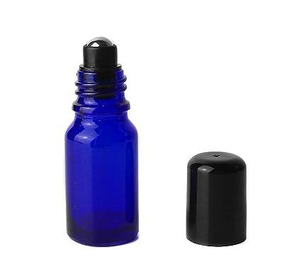 Juego de 3 tarros de botellas de cristal de aceite esencial azul con bolas de acero