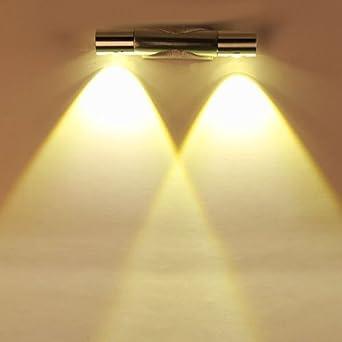 Finether 6W LED Wandleuchte Wandlampe Wandfluter Flurlampe Mit 2 Leuchten  360°Drehbar Up Down Aus Aluminium Für Innen Schlafzimmer ...