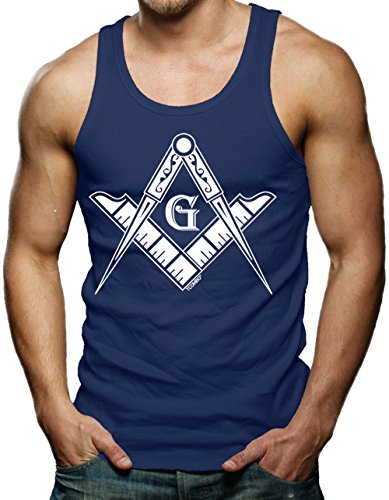 State Logo Square - Tcombo Freemason Logo - Square & Compass Symbol Men's Tank Top (Navy, Medium)