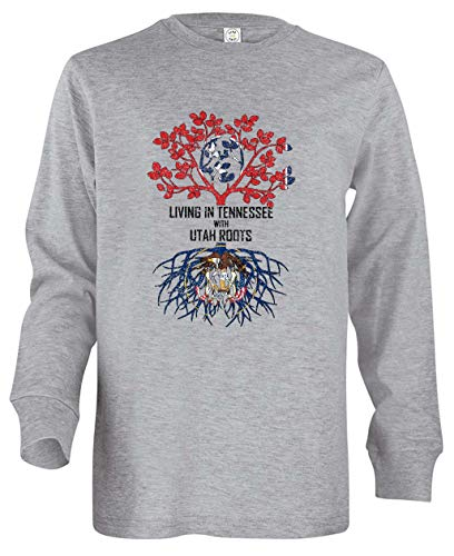 Tenacitee Boy's Youth Living in Tennessee with Utah Roots Long Sleeve T-Shirt, X-Small, Heather Grey -