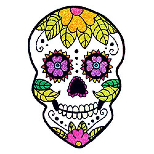 Tattoo Each - Sugar Skull Temporary Tattoos, 10 Sparkle Sugar Skull tattoos, 10 sheets, each sheet 3.5